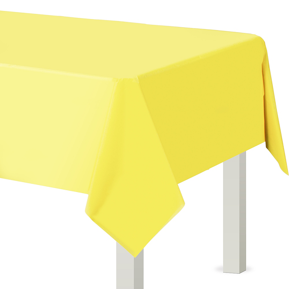 Light Yellow Plastic Table Cover Image #1