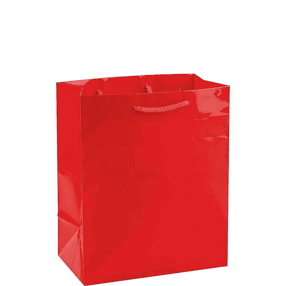 Medium Glossy Red Gift Bag Image #1
