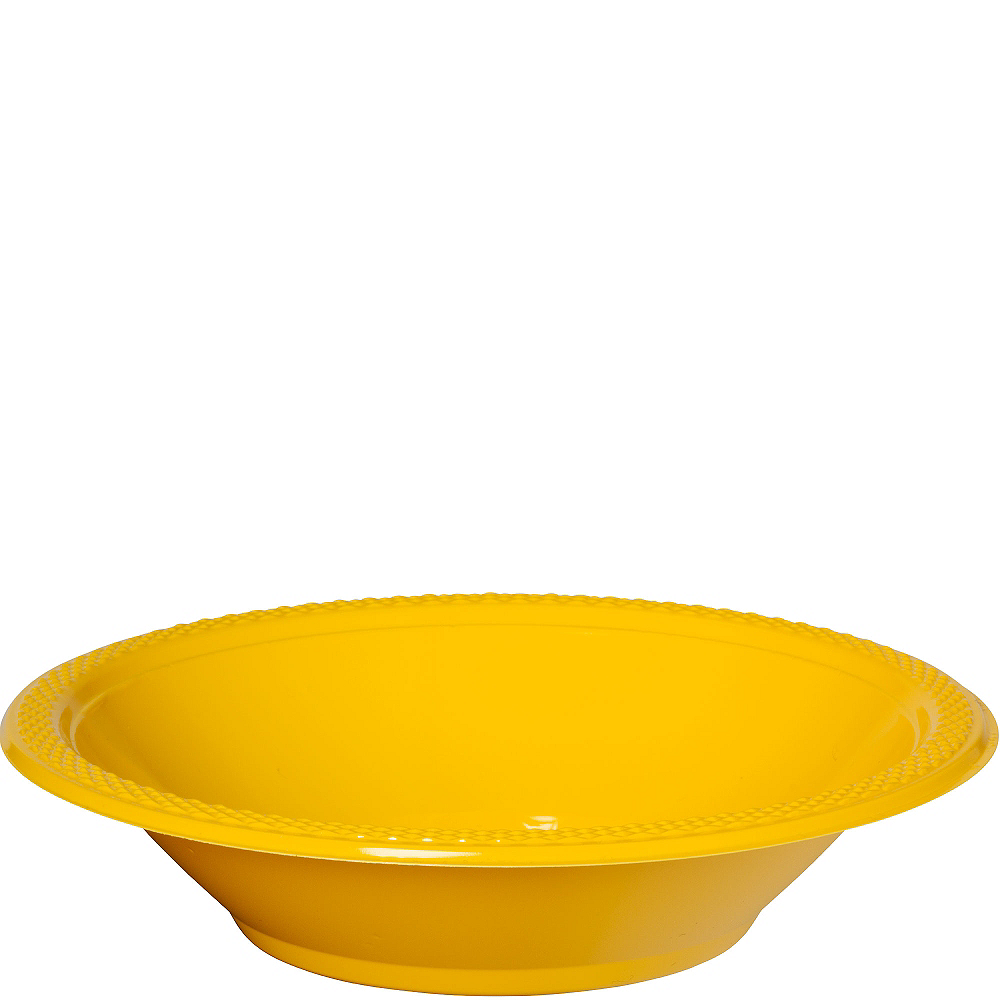 Sunshine Yellow Plastic Bowls 20ct Image #1