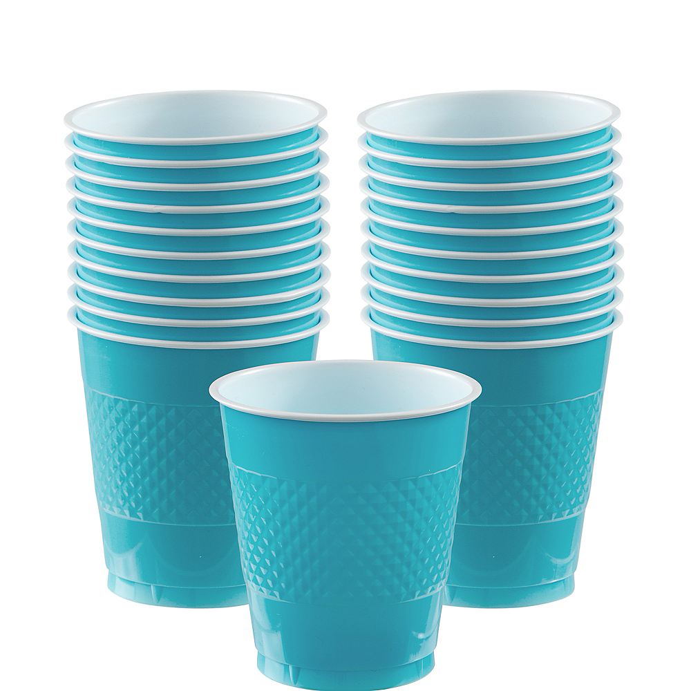Nav Item for Caribbean Blue Plastic Cups 20ct Image #1