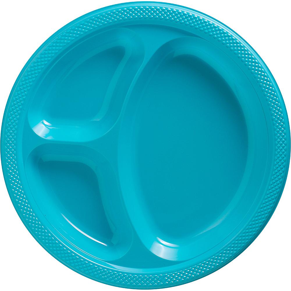 Caribbean Blue Plastic Divided Dinner Plates 20ct Image #1