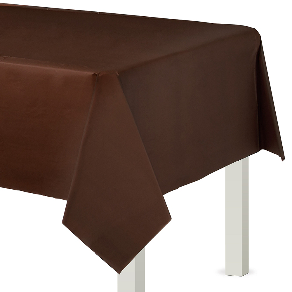 Chocolate Brown Plastic Table Cover Image #1