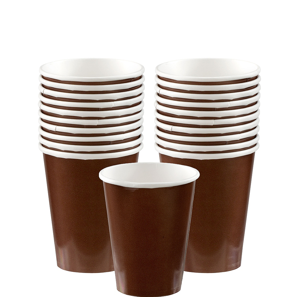 Chocolate Brown Paper Cups 20ct Image #1