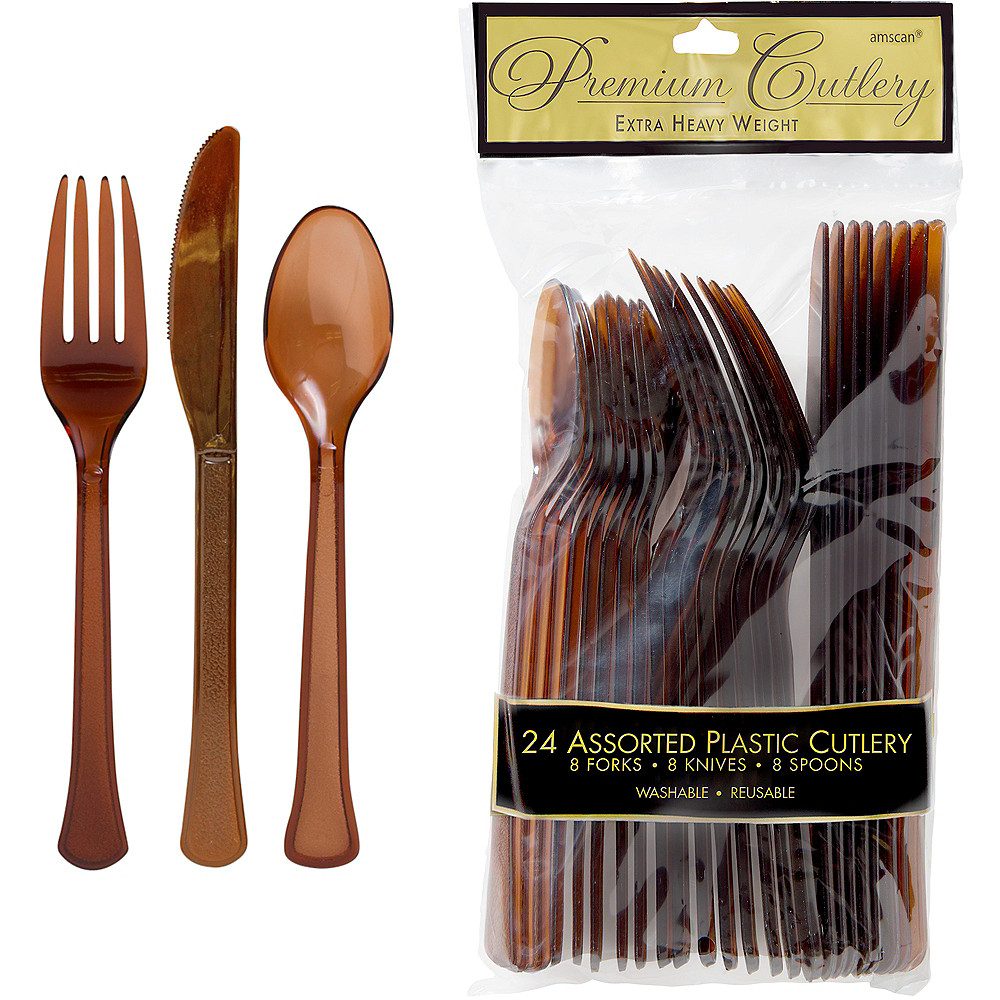 Chocolate Brown Premium Plastic Cutlery Set 24ct Image #1