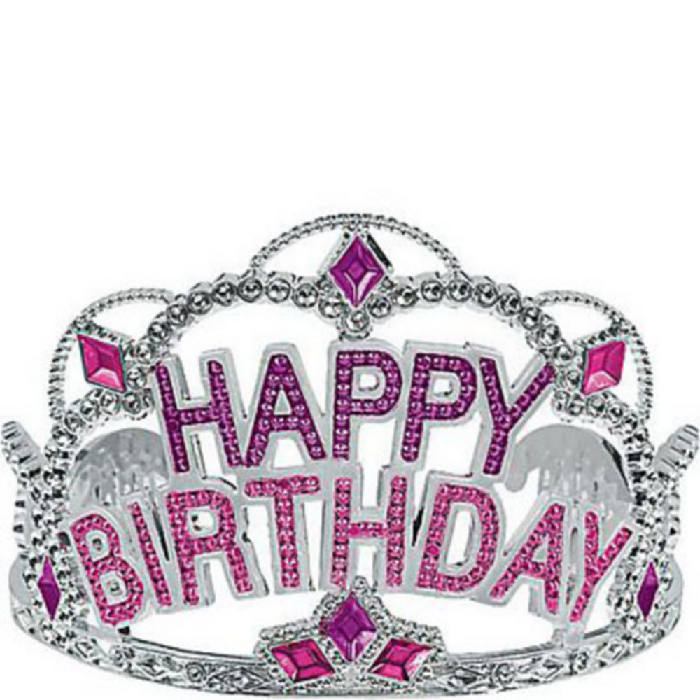 happy birthday crown Pink Rhinestone Happy Birthday Tiara 4 1/2in x 3 1/2in | Party City happy birthday crown