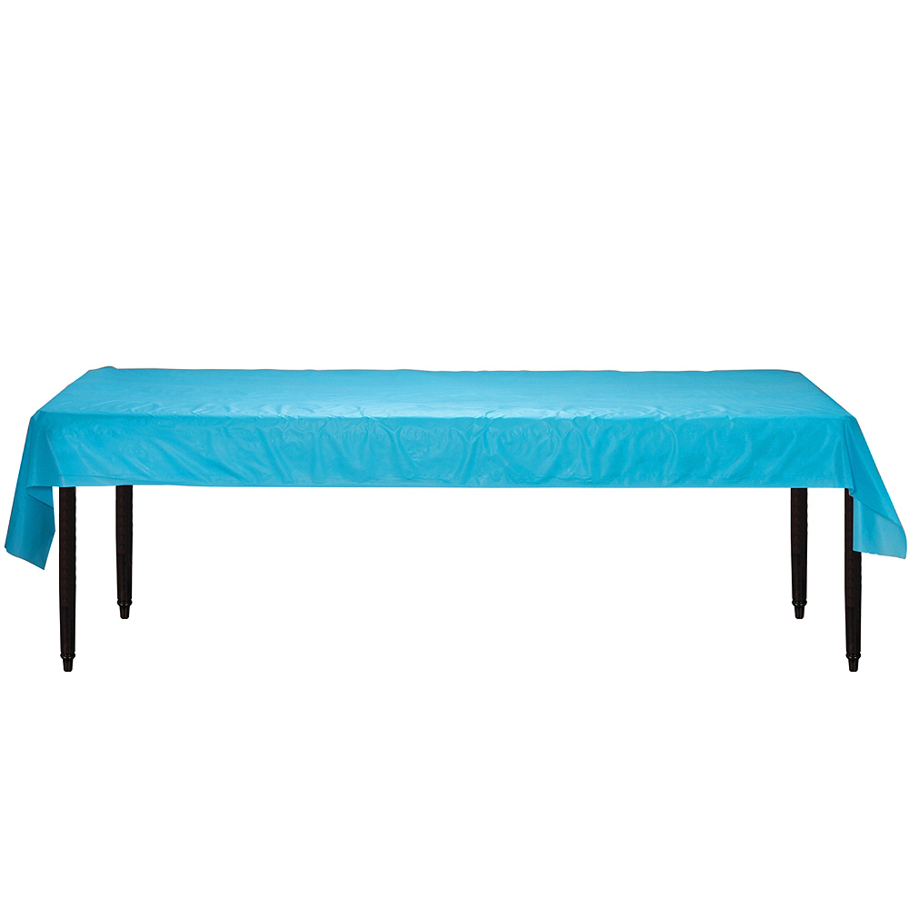 Caribbean Blue Plastic Table Cover Roll Image #2