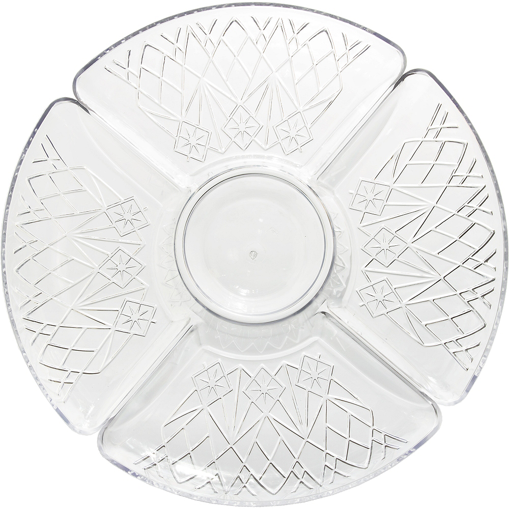CLEAR Plastic Crystal Cut Sectional Platter Image #1