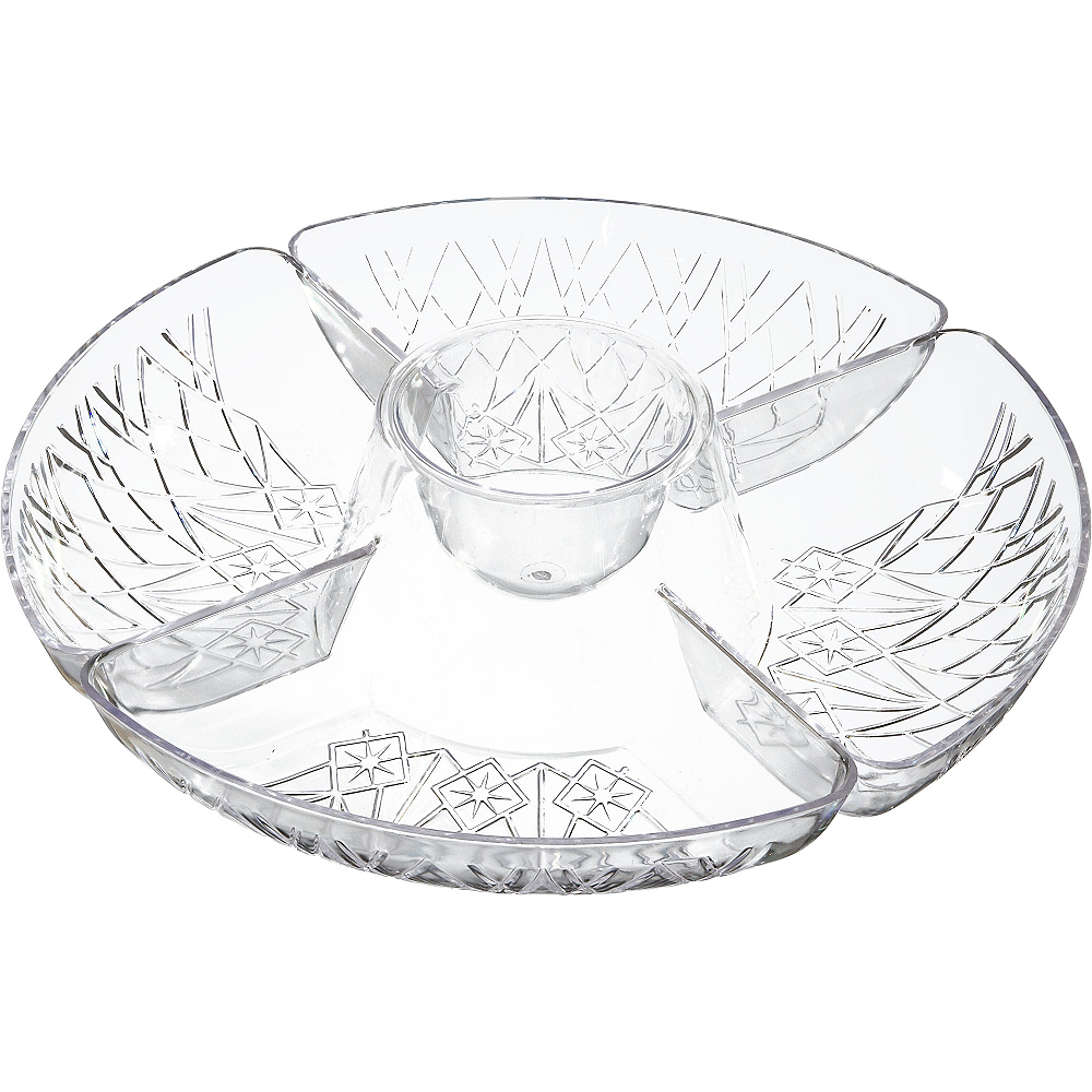 CLEAR Plastic Crystal Cut Sectional Platter Image #2