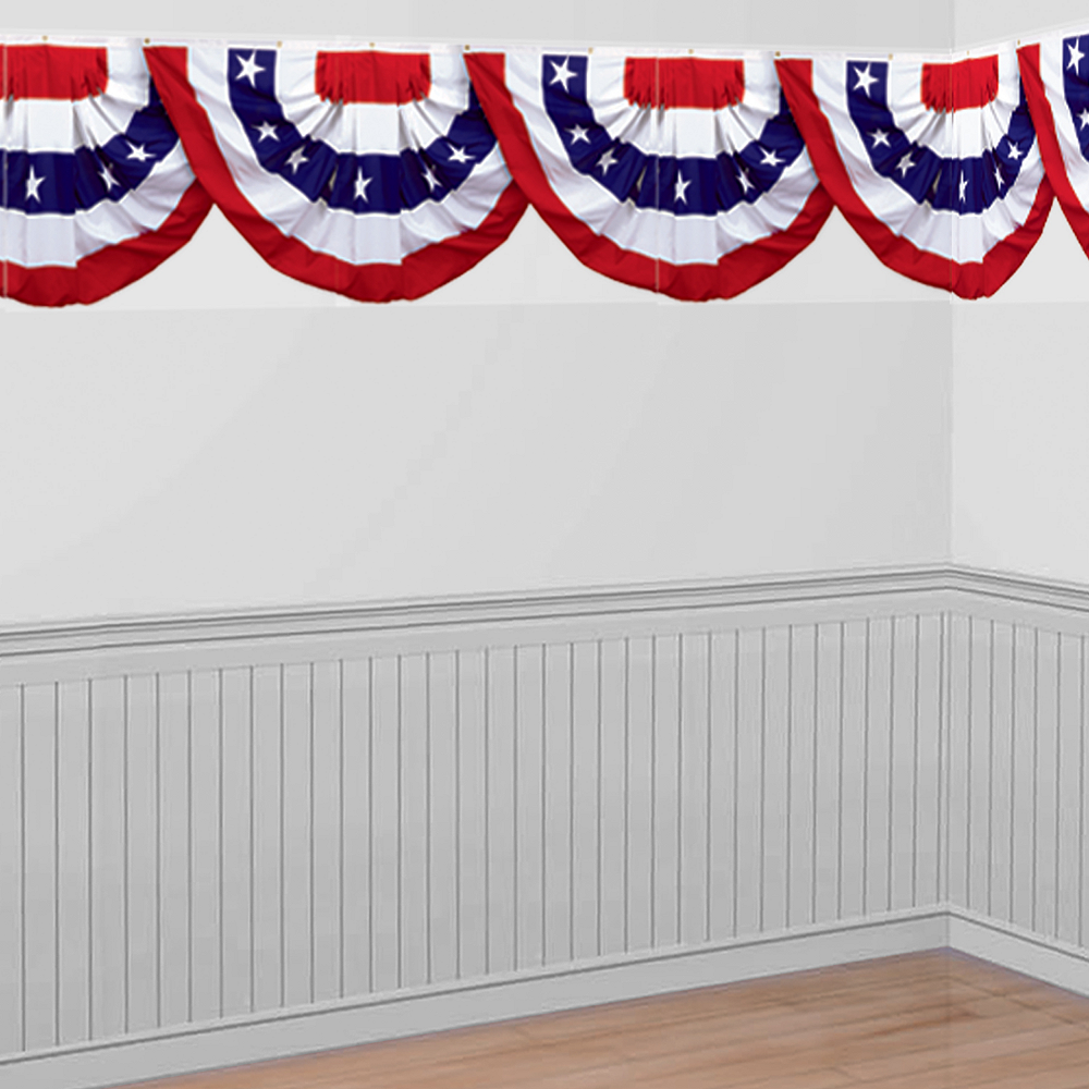 Patriotic American Flag Bunting Room Roll Image #1