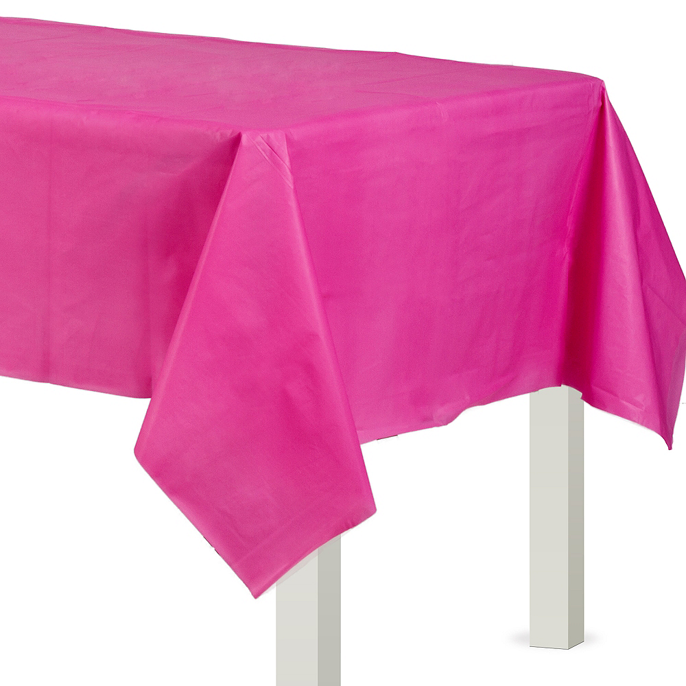 Bright Pink Plastic Table Cover 54in X 108in Party City