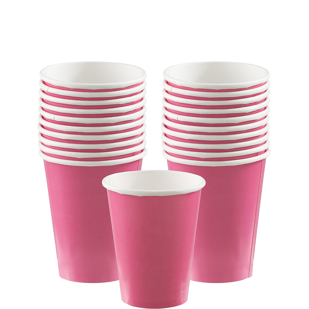 Bright Pink Paper Cups 20ct Image #1