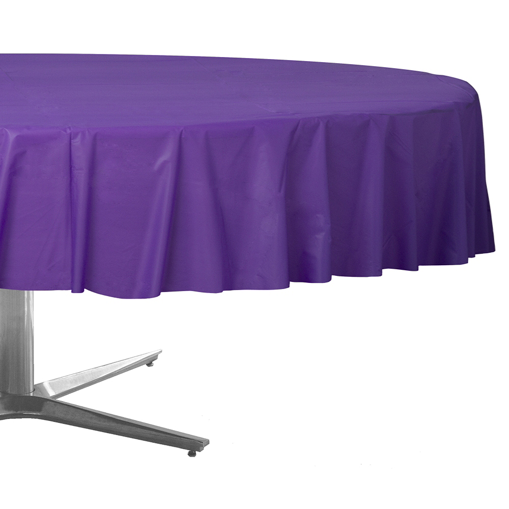 Purple Plastic Round Table Cover Image #1