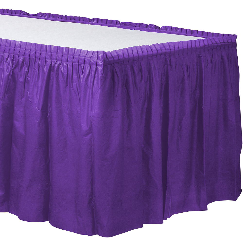 Purple Plastic Table Skirt 168in X 29in Party City