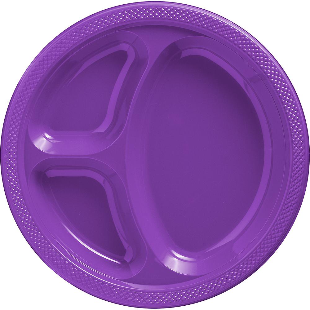 Purple Plastic Divided Dinner Plates 20ct Image #1