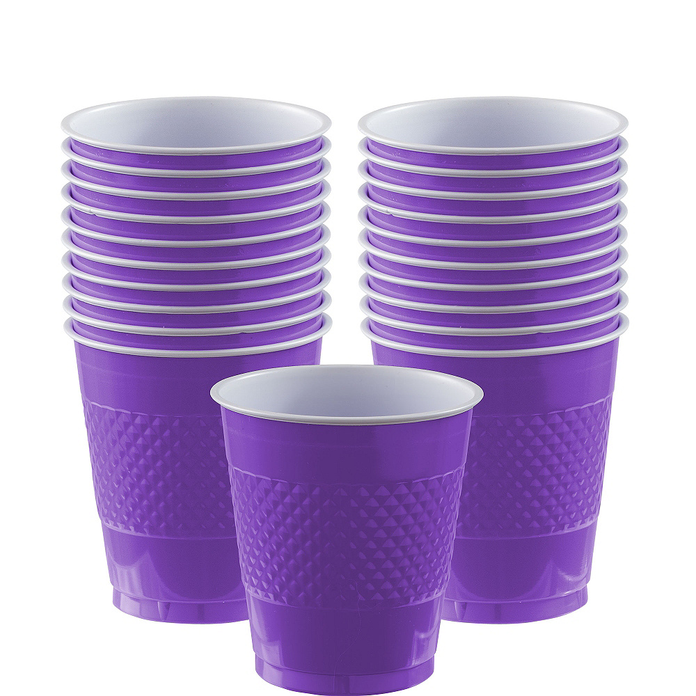 Purple Plastic Cups 20ct Image #1