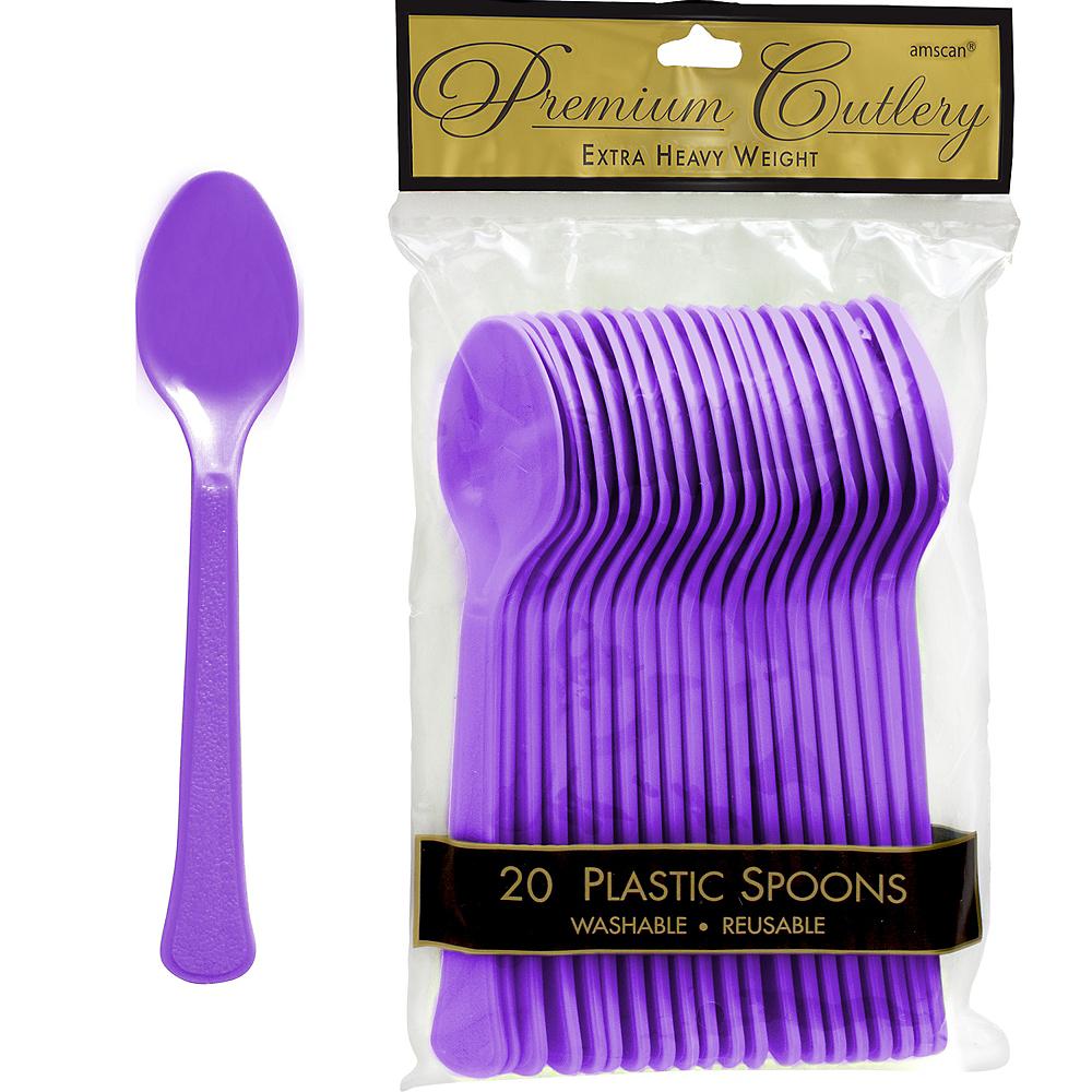 Purple Premium Plastic Spoons 20ct Image #1