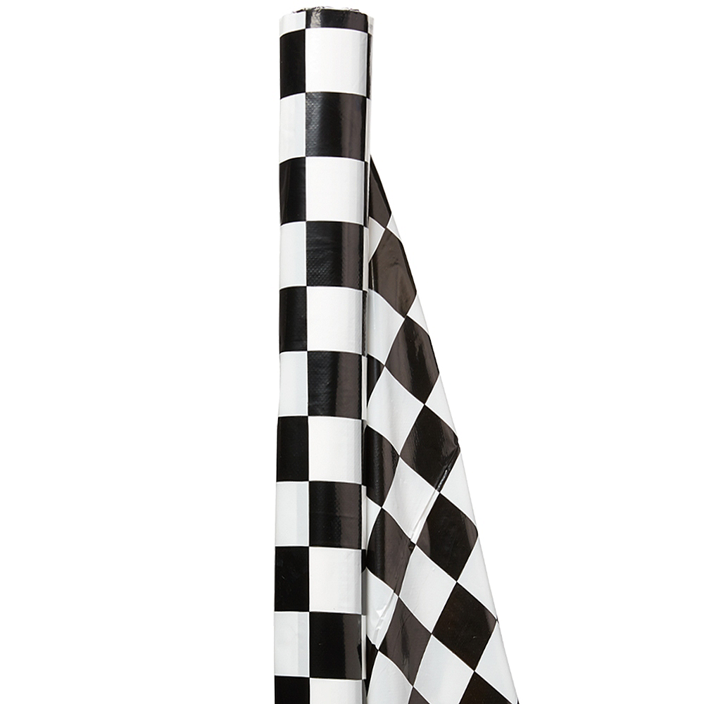 Black & White Checkered Plastic Table Cover Roll Image #1