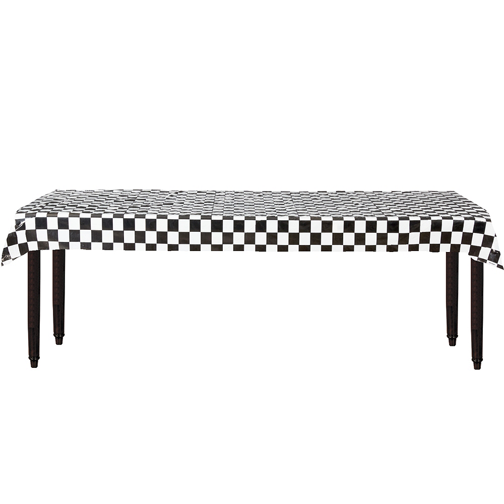 Black & White Checkered Plastic Table Cover Roll Image #2