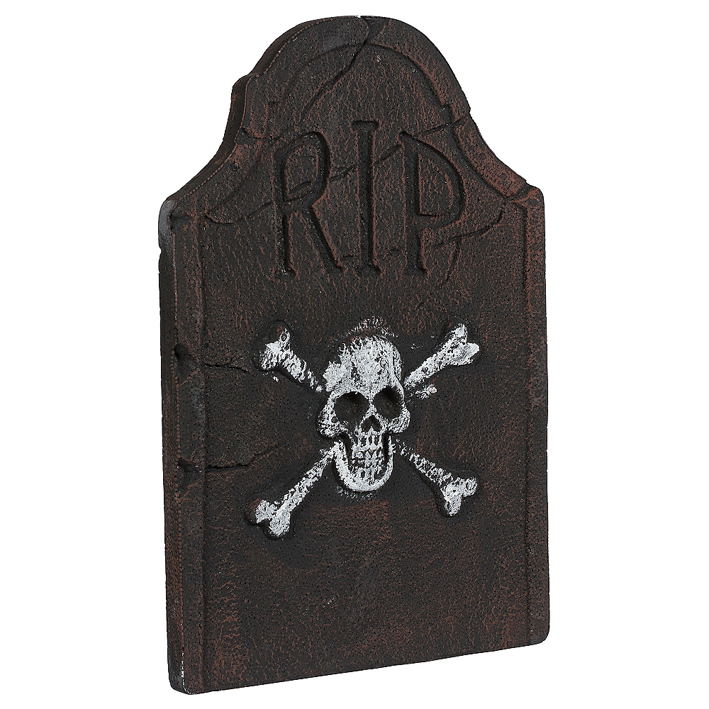 Skull & Crossbones Tombstone Decoration Image #1