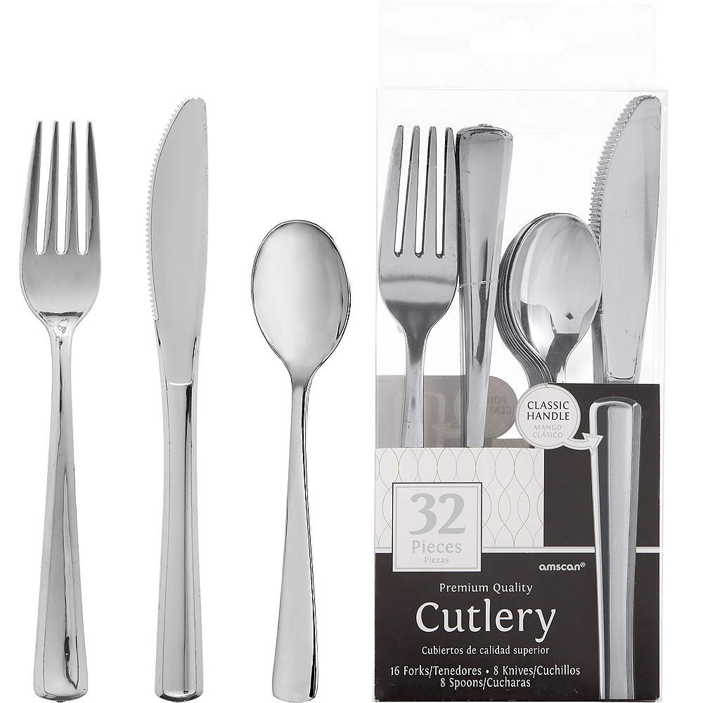 Nav Item for Silver Plastic Cutlery Set 32ct Image #1