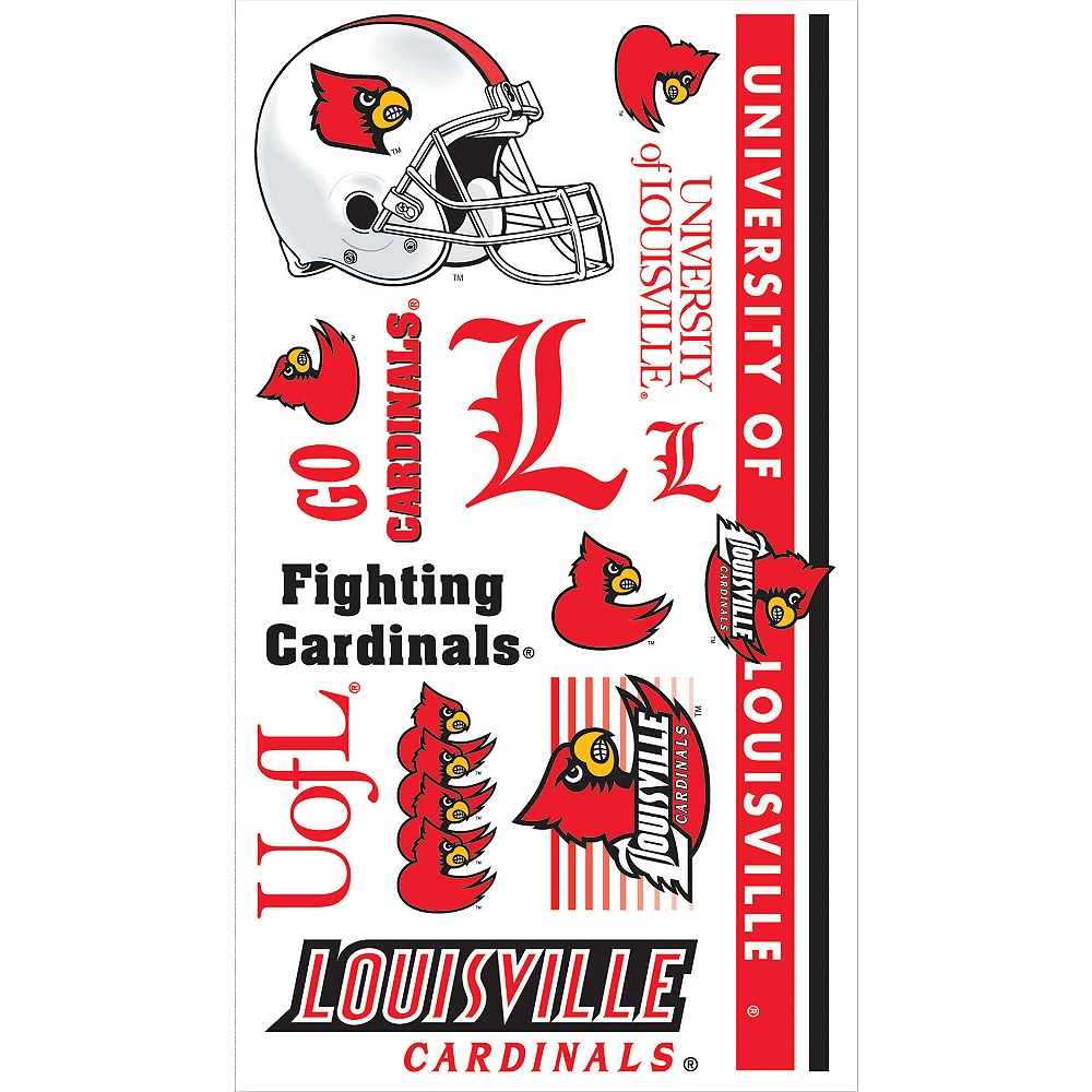 Louisville Cardinals Tattoos 10ct Image #1