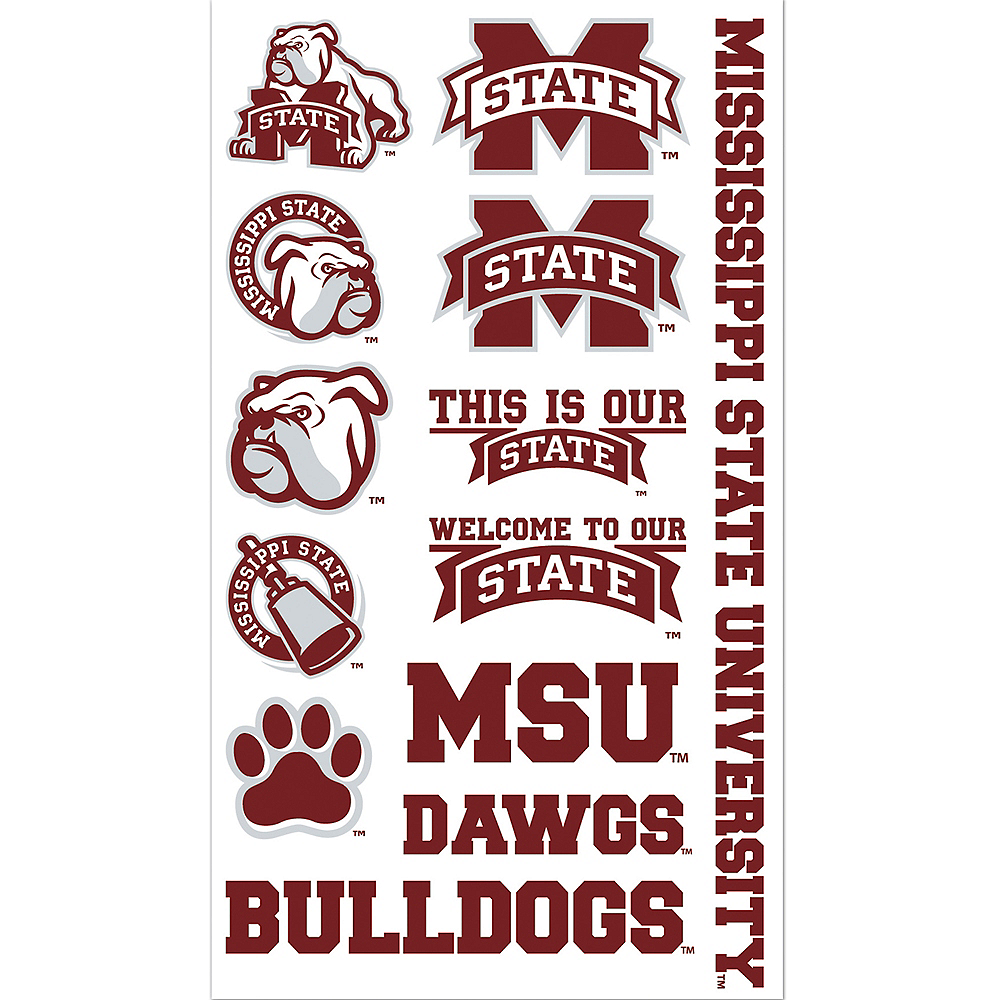 Mississippi State Bulldogs Tattoos 7ct | Party City