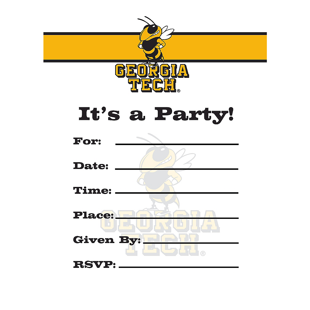 Georgia Tech Yellow Jackets Invitations 8ct Image #1