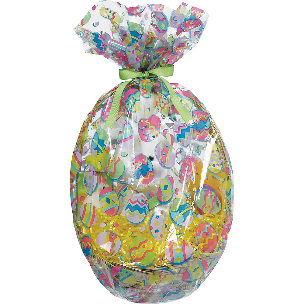 Painted Eggs Plastic Gift Basket Bags 2ct Image #1