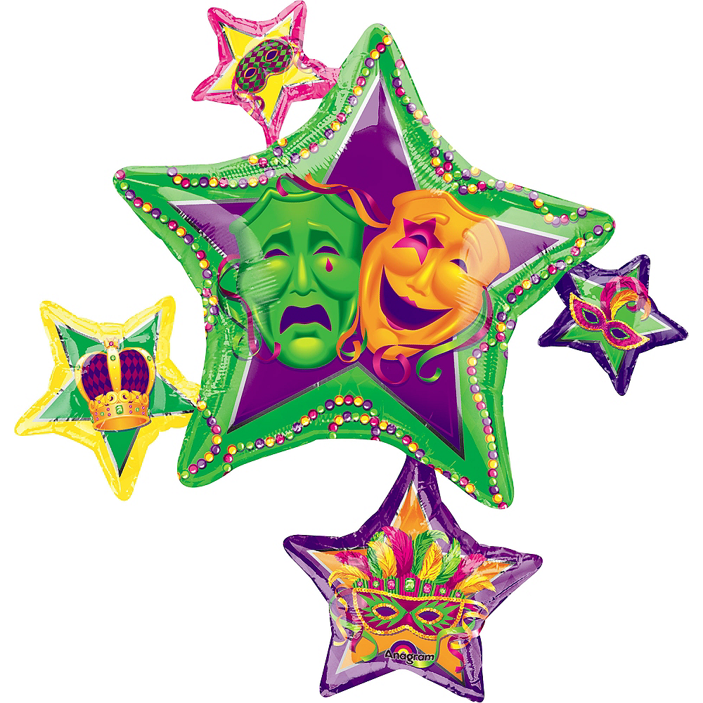 Mardi Gras Balloon - Stars, 35in Image #1