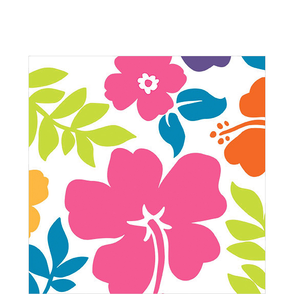 Hibiscus White Lunch Napkins 100ct Image #1