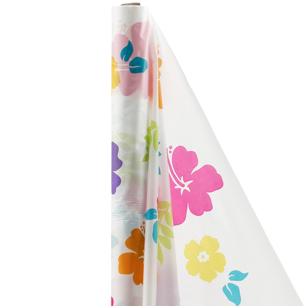 Hibiscus White Plastic Table Cover Roll Image #1