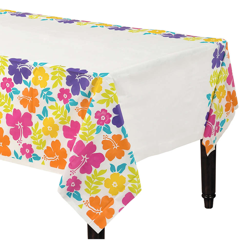 Hibiscus White Plastic Table Cover Image #1