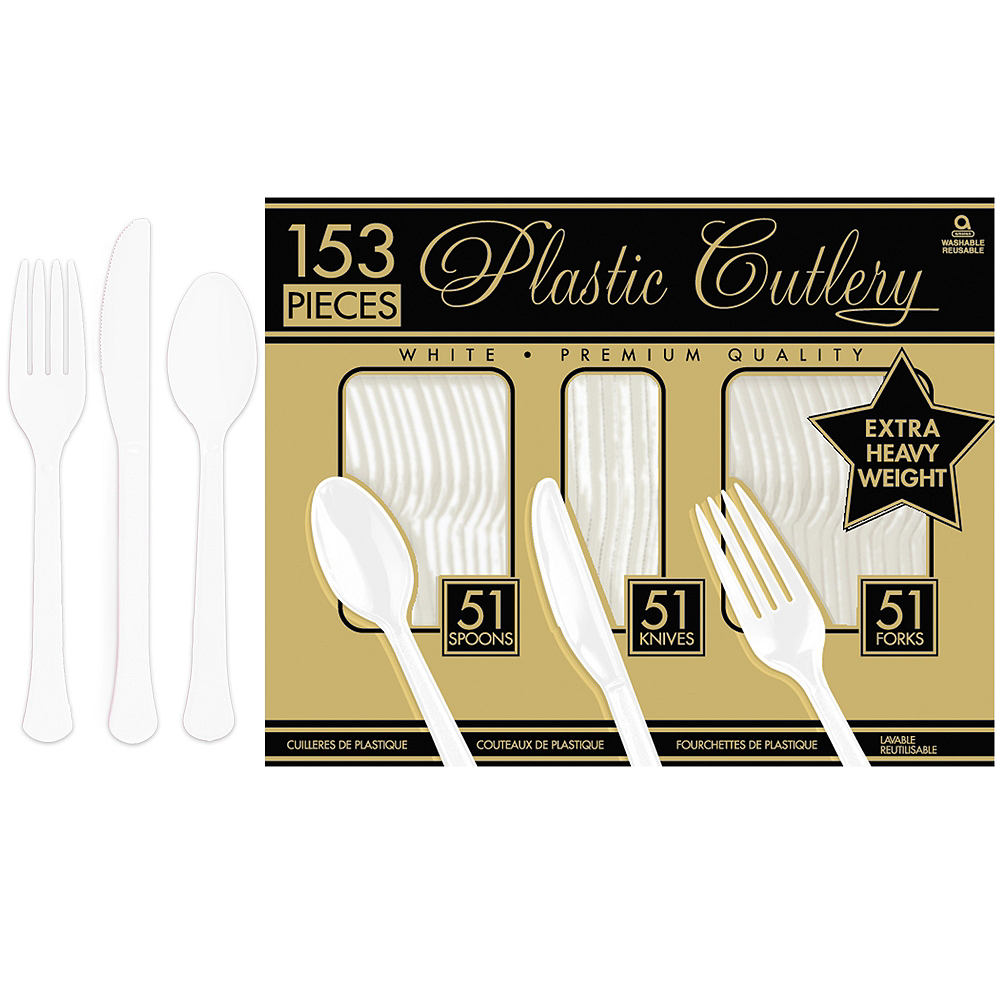 White Plastic Cutlery Set 153ct Image #1
