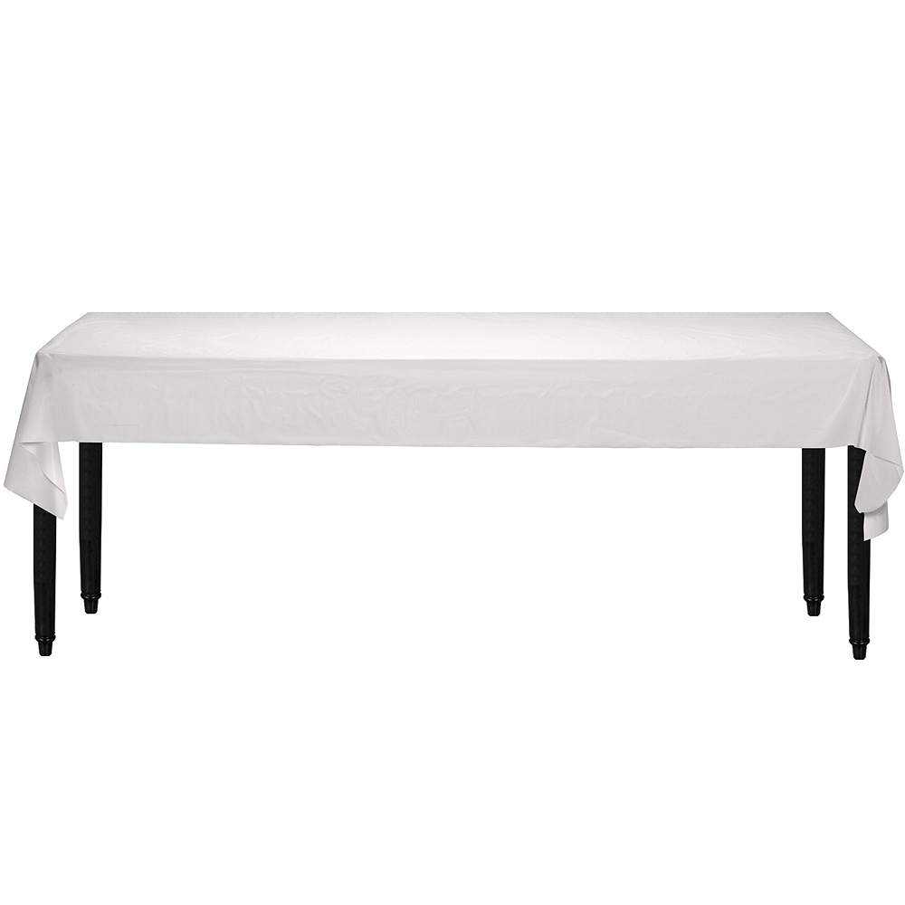 Extra-Long White Plastic Table Cover Roll Image #2