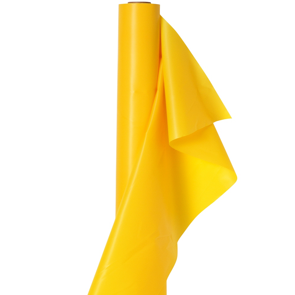 Extra-Long Sunshine Yellow Plastic Table Cover Roll Image #1