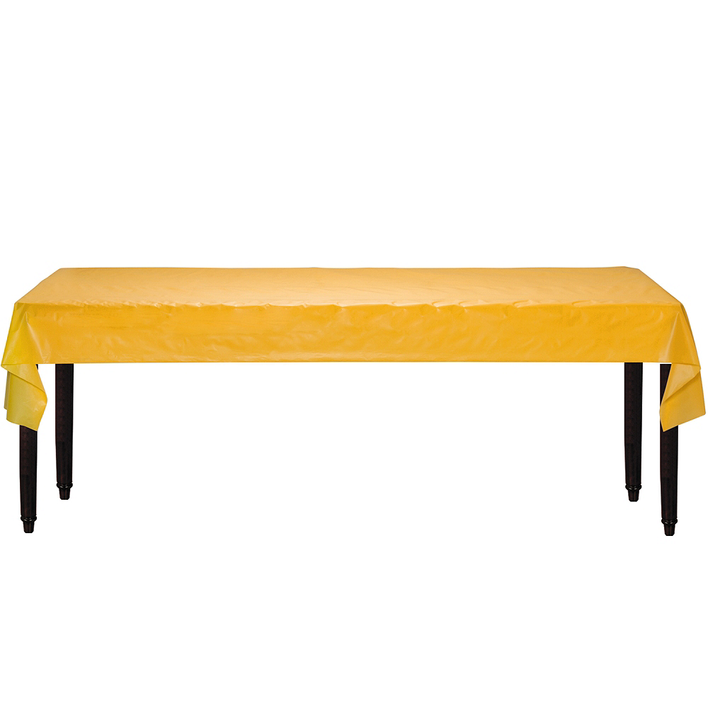 Extra-Long Sunshine Yellow Plastic Table Cover Roll Image #2