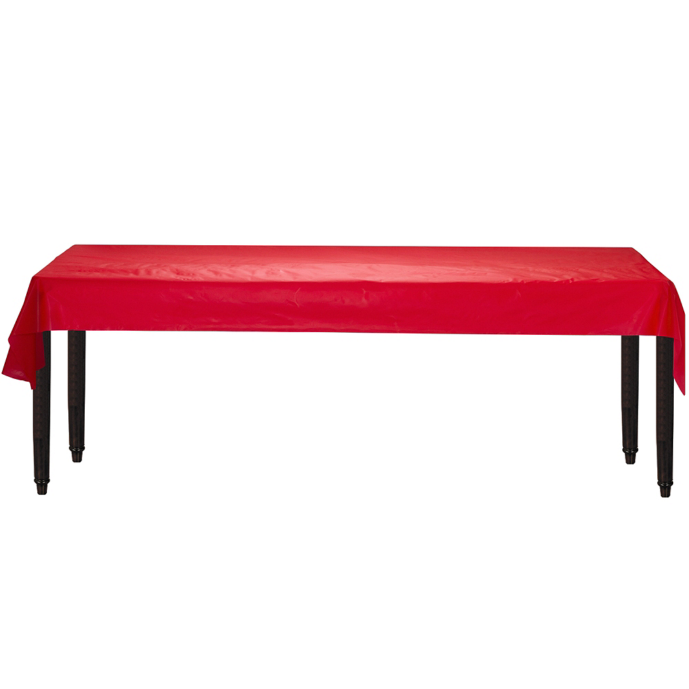 Extra-Long Red Plastic Table Cover Roll Image #2