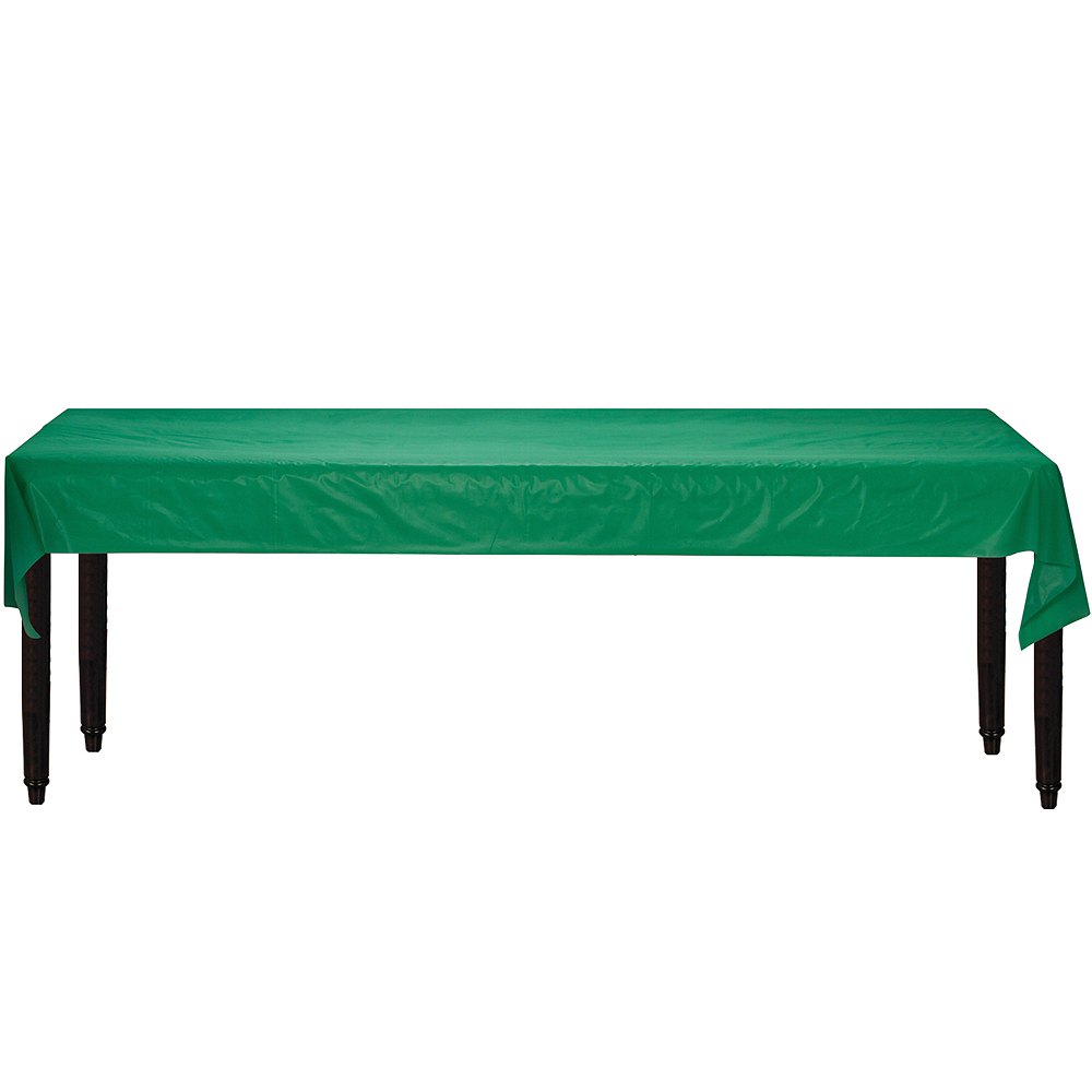 Extra-Long Festive Green Plastic Table Cover Roll Image #2