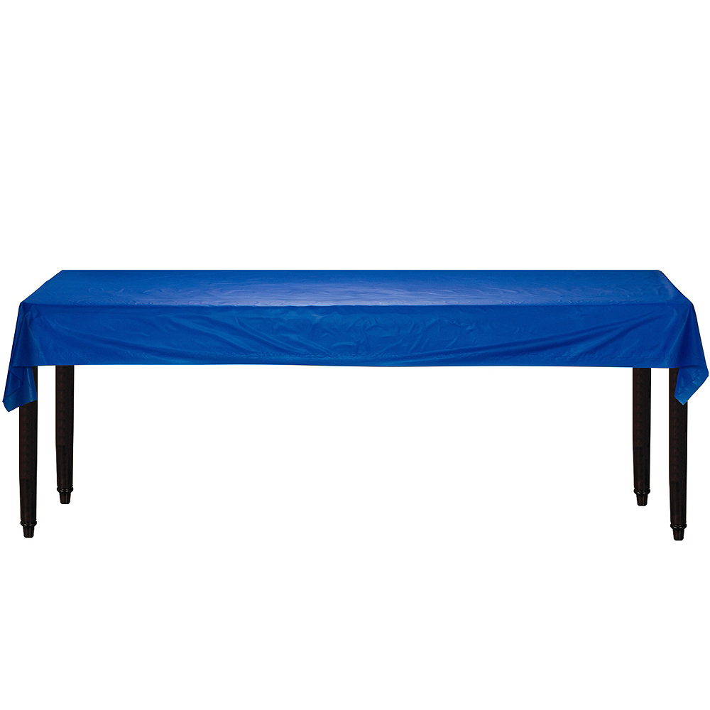Extra-Long Royal Blue Plastic Table Cover Roll Image #2