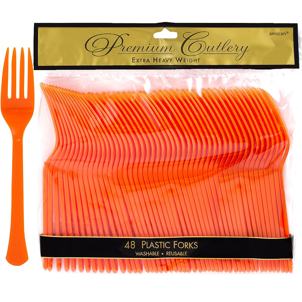 Orange Premium Plastic Forks 48ct Image #1