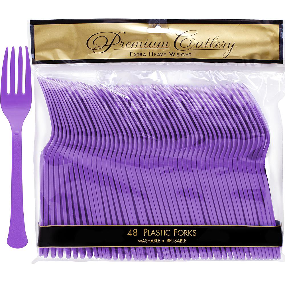 Purple Premium Plastic Forks 48ct Image #1