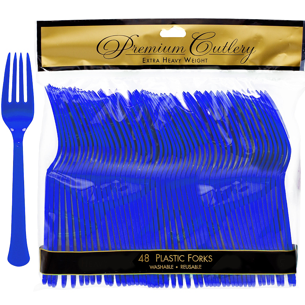 Royal Blue Premium Plastic Forks 48ct Image #1