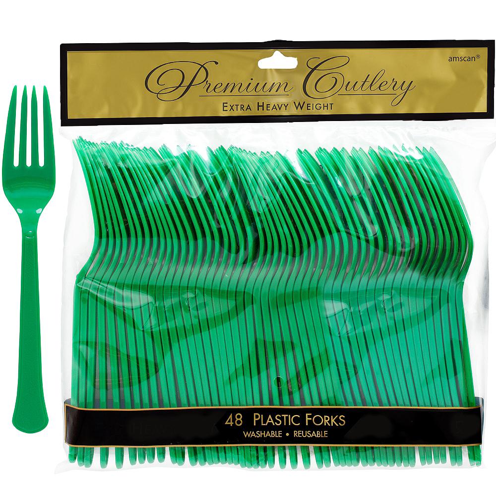 Festive Green Premium Plastic Forks 48ct Image #1
