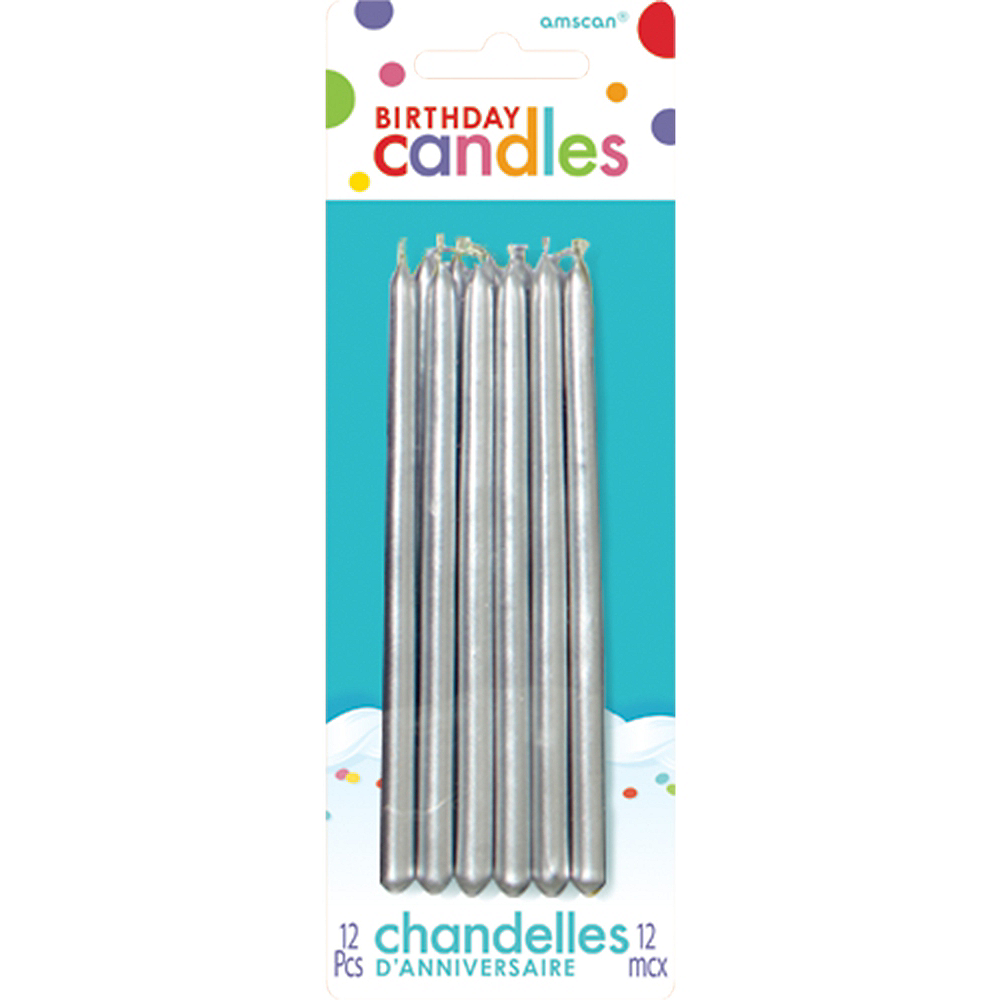 Tall Silver Birthday Candles 12ct Image 1