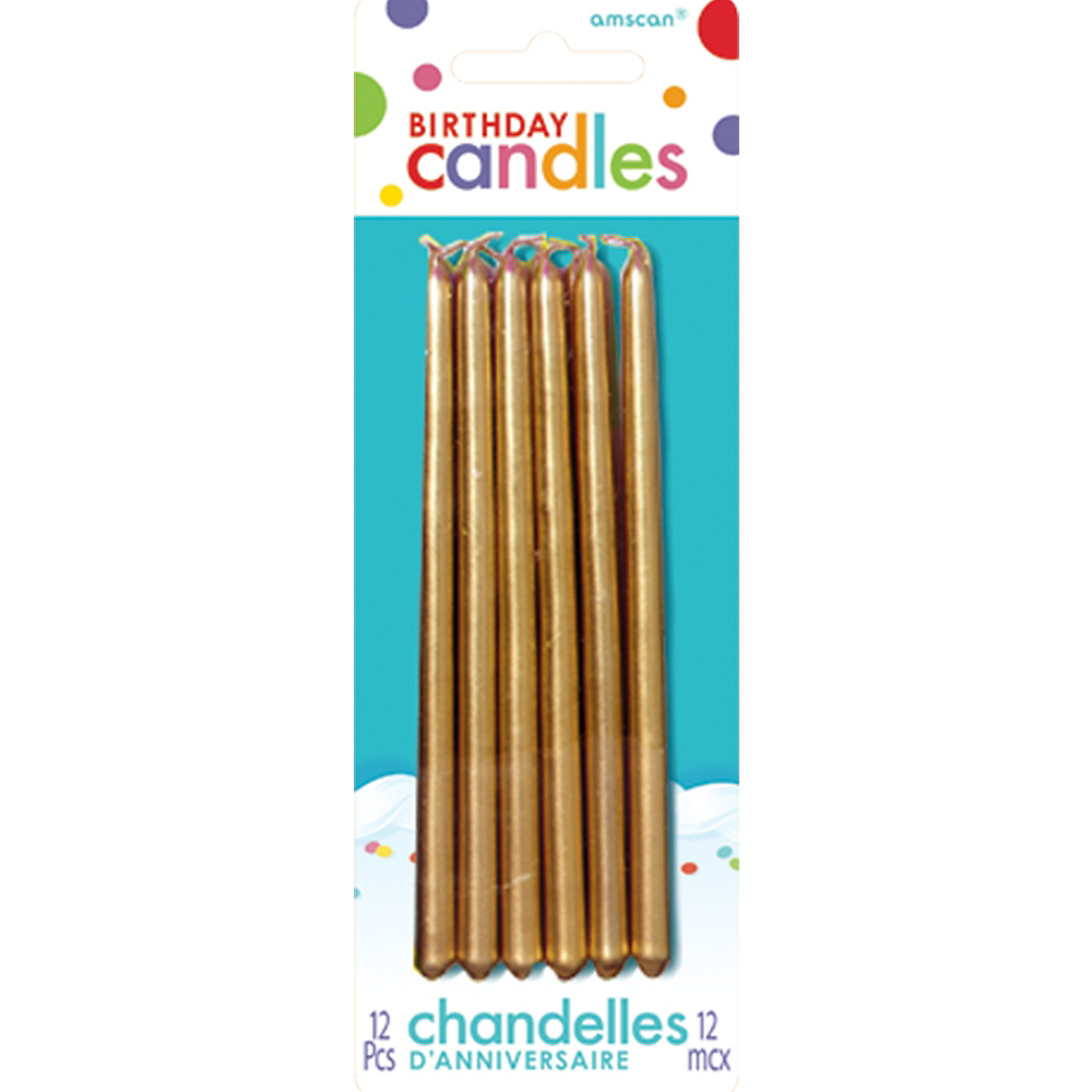 Tall Gold Birthday Candles 12ct Image 1