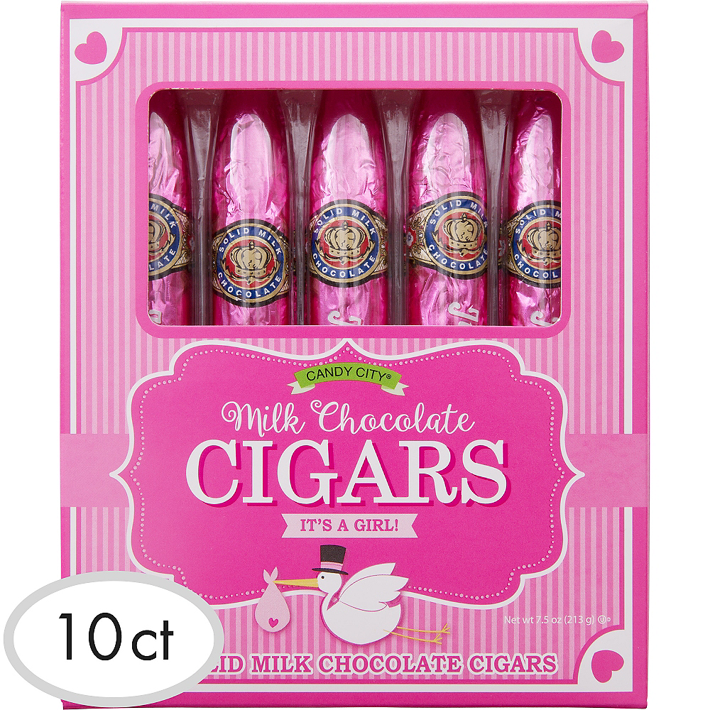 Pink It\'s a Girl Chocolate Cigars 10ct | Party City