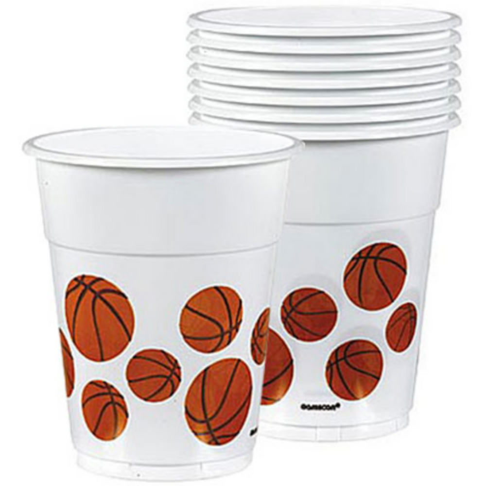 Basketball Plastic Cups 8ct Image #1