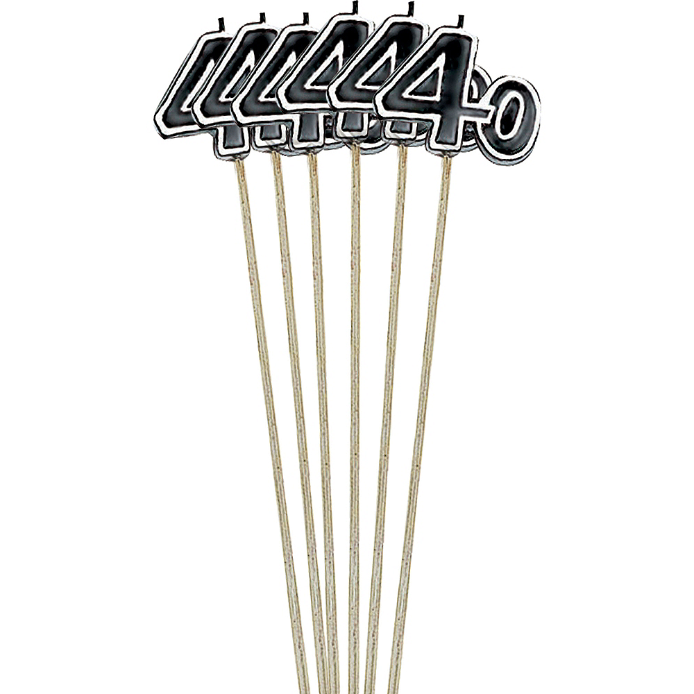 Black Number 40 Birthday Toothpick Candles 6ct Image #1