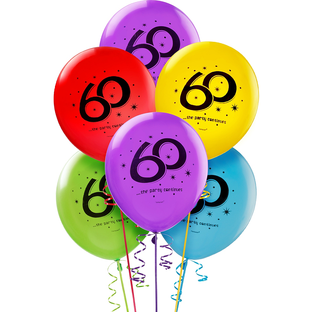 The Party Continues 60th Birthday Balloons 12in 15ct