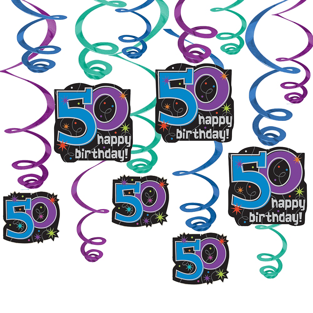 50th Birthday The Party Continues Swirl Decorations Image 1